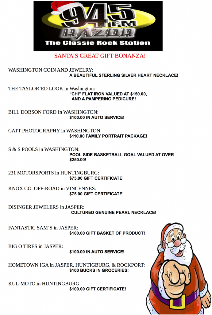 2013 WRZR Santa's Great Gift Bonanza Weblist